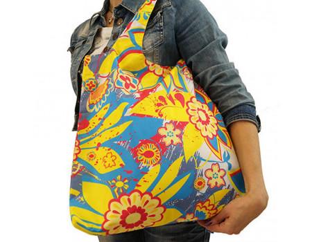 Складная сумка из ткани Цветы синие