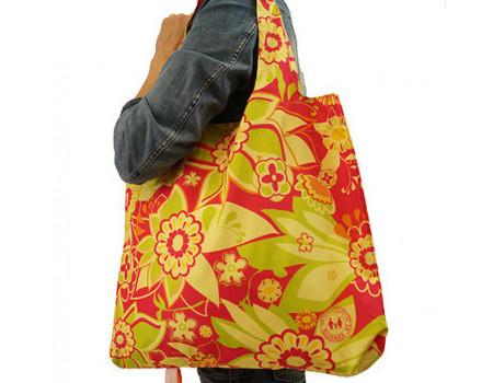 Складная сумка из ткани Красные Цветы