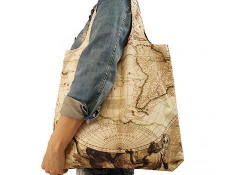 Складная сумка из ткани  Карта