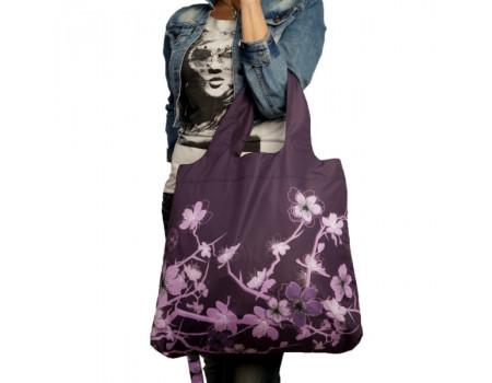 Складная сумка из ткани  Сакура Сиреневая