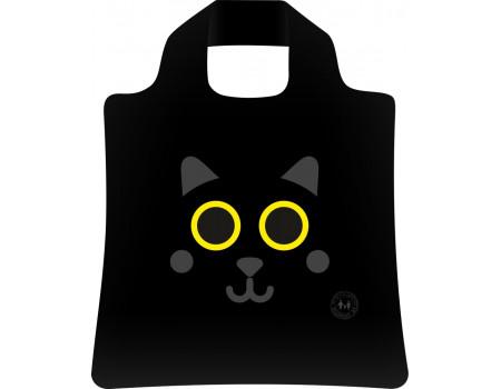 Складная сумка из ткани с принтом Черный кот