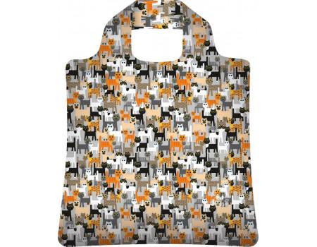 Складная сумка из ткани с принтом Кошки-2