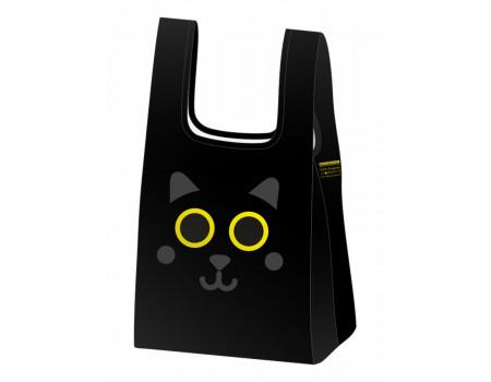 Складная сумка-пакет из ткани Черный кот