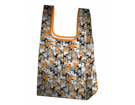 Складная сумка-пакет из ткани Кошки-2
