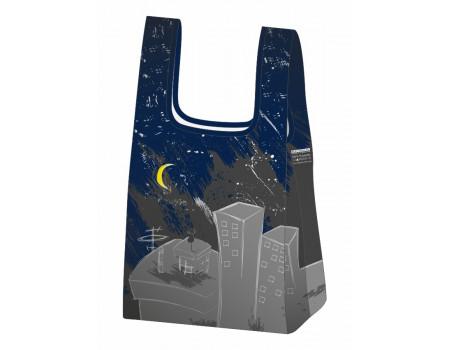 Складная сумка-пакет из ткани Ночной город