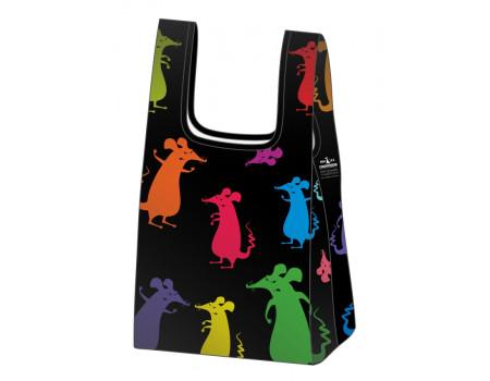 Складная сумка-пакет из ткани Крысята цветные