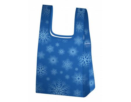 Складная сумка-пакет из ткани Снежинки