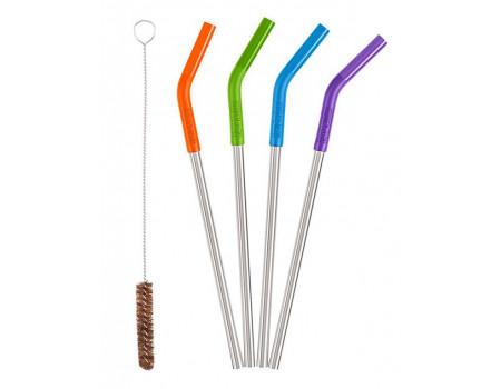 Стальные трубочки для коктейлей и смузи к стаканам Klean Kanteen 5pc Straw Set Multi Color