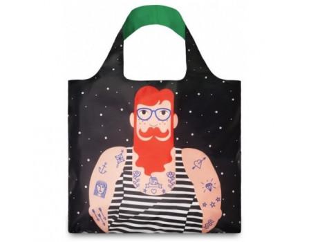 Многоразовая сумка LOQI FASHION - Smoking Beard